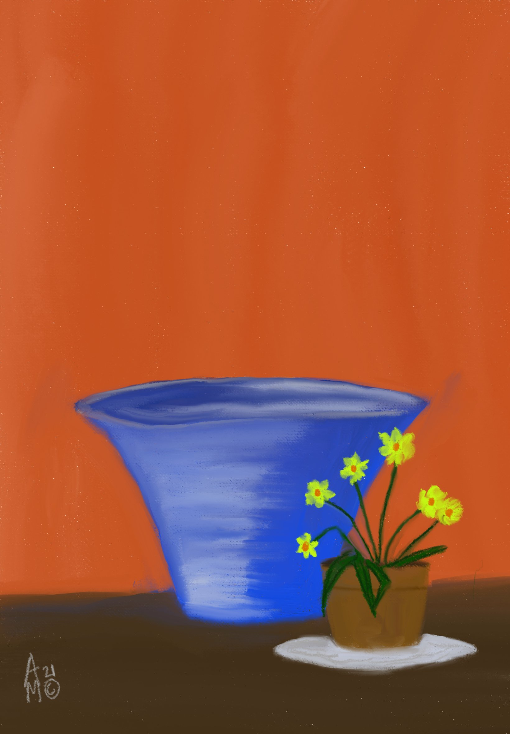 blue crystal vase with yellow flowers (2021)